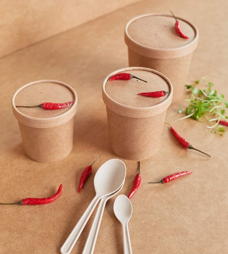 pojemniki na zupę z tektury KRAFT z łyżkami z włókna bambusowego POGLĄDOWE (2)-min