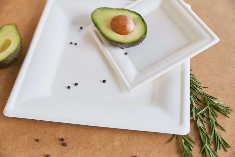 """Biodegradowalny kwadratowy talerz z trzciny cukrowej 10"""" <br> pulpa - 262x262 - 50 szt."""
