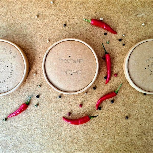 Ekologiczne logowane wieczko do pojemnika na zupę 12oz